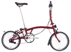 Brompton: M3L House Red 3 vel. Wide Saddle – Bicicleta Plegable